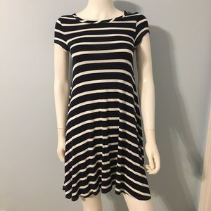 Navy and white striped comfy t-shirt dress